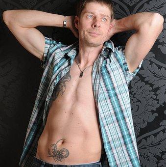 Man, Tattooed, Male, Sexy, Sensual, Portrait, Tattoos