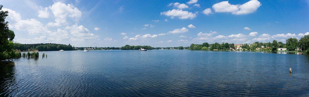Lake, Panorama, Water, Sky, Spieglung, Grünheide