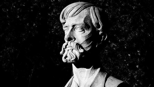Monument, Black And White, Mustache, Beard, Face, Bust