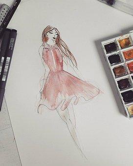 Woman, Dress, Pink, Watercolor, Felt, Drawing, Pen