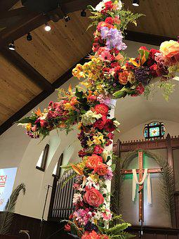 Easter Cross, Cross, Easter, Sunday, Church
