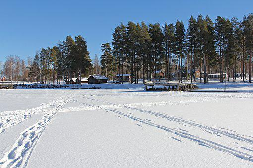 Frozen Lake, Siljan Lake, Lake, Frozen, Snow, Ice, Cold