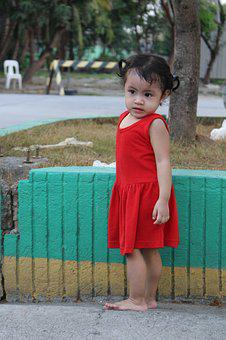 Kid, Little Girl, Baby, Toddler, Baby In Red, Young