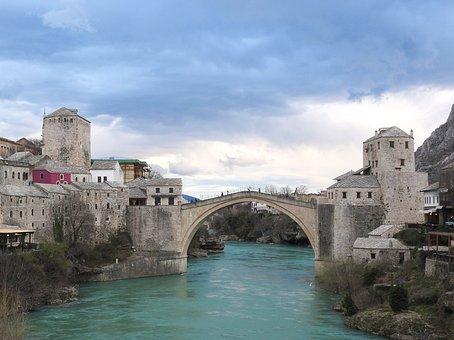Bosnia And Herzegovina, Mostar, Bridge, Neretva River