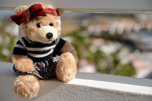 Teddy Bear, Plush, Toy, Cuddly, The Mascot, Sitting
