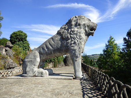 Lion, Statue, Park, Sculpture, Spain, Tourism, Galicia