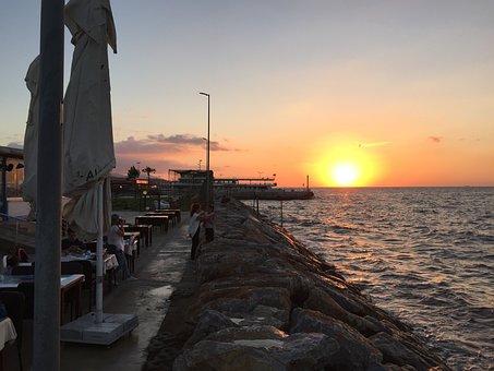 Yalova, Turkey, Sea Of Marmara, Europe, Sun Set