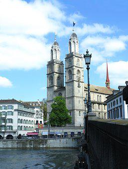 Church, Zurich, Switzerland, Double Tower, Old Town