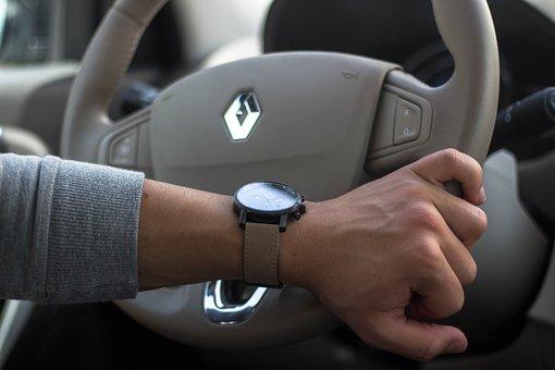 Car, Wheel, Steering Wheel, Clock, Mvmt, Renault, Watch