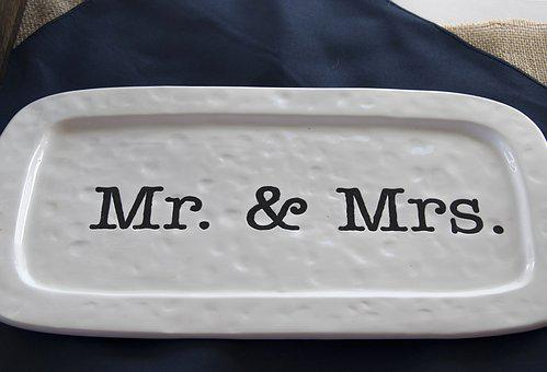 Mr, And Mrs, Wedding, Gift, Plate, Decoration, Ceremony
