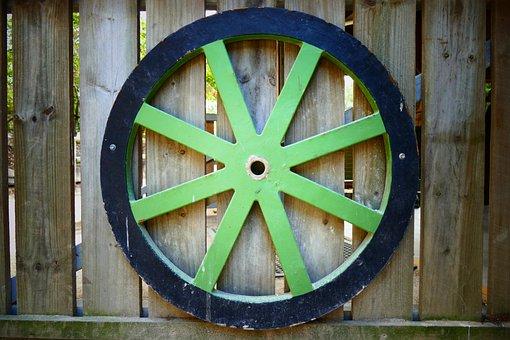 Wheel, Old, Green, Vintage, Retro, Antique, Vehicle