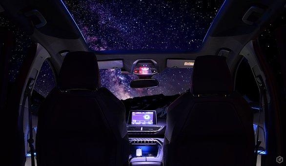 Auto, Stars, Sky, 3008, Peugeot