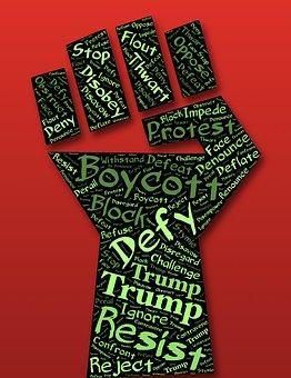 Defiance, Fist, Resist, Boycott, Trump, Oppression