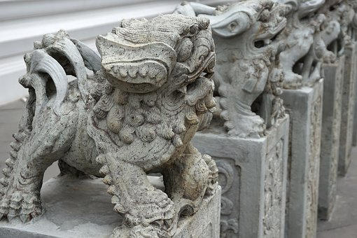 Statue, Chinese, Temple, Stone, Asia, China