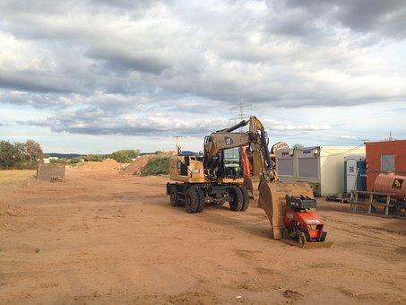 Site, Bauwagen, Sand, Work, Construction Work, Clouds
