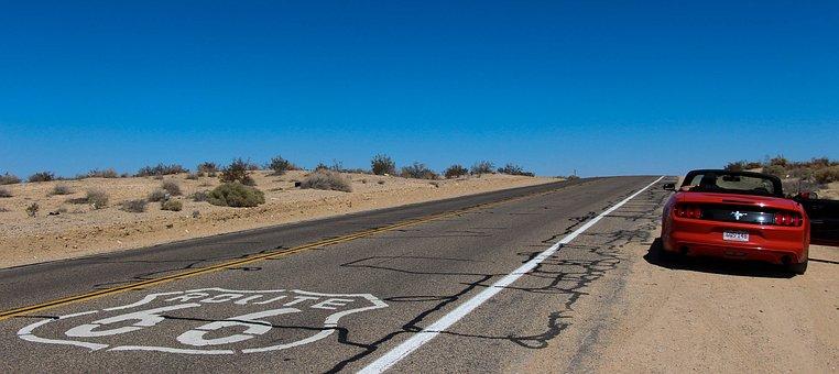 Convertible, Route 66, Desert, Road, Car, Blue Sky