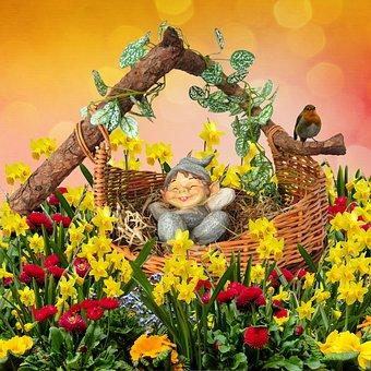 Fantasy, Dwarf, Spring, Good Night, Sleep, Rest, Basket
