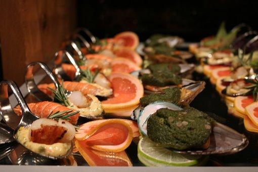 Buffet, Fish, Shrimp, Cold Buffet, Frisch, Eat, Food