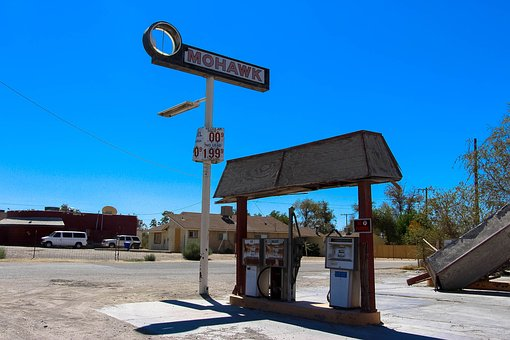 Gas Station, Gas, Old, Route 66, Car