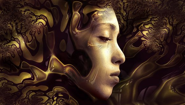 Face, Gold, Female, Three Dimensional, Gilded