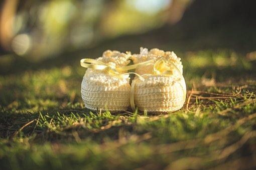Grass, Vegetation, Evening, Shoe, Slipper, Baby