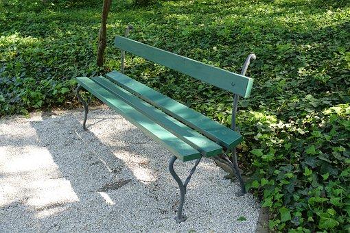Empty, Bench, Park, Green
