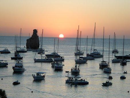 Port, Boats, Sunset, Horizon, Sun, Sea, Ibiza, Benniras