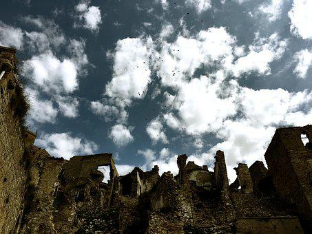 Craco, Basilicata, Lucania, Italy, Sky, Clouds, Country