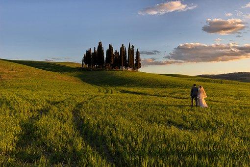 Hills, Tuscany, Siena, Valdorcia, Italy, Sunset, Sky