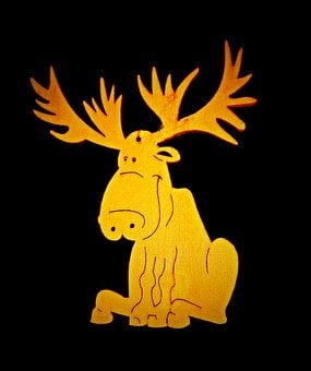 Moose, Holzfigur, Fretwork, Hand Labor, Brown, Trailers