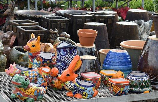 Colorful Ceramic Pots, Animals, Painted, Ceramic, Clay