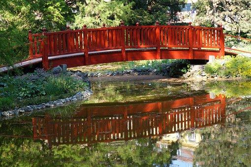 Wooden, Bridge, Arhitecture, Water, Reflexion, Park