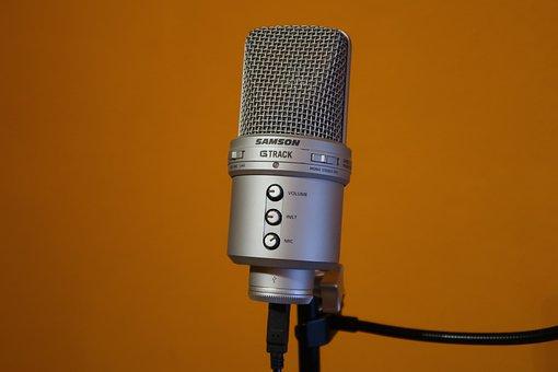 Microphone, Samson, Subject, Orange Wall, Silver, Audio