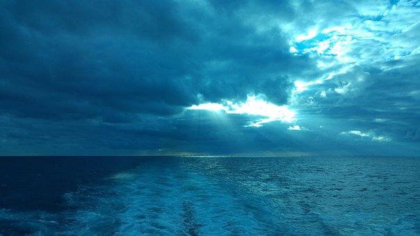 Cruise, Wake, Blue, Cloud, Caribbean, Sea, Water, Boat