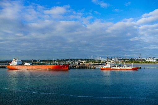 Refinery, Oil Refinery, Oil, Industry, Ship, Sea
