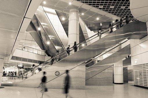 Escalator, Subway, Singapore, Fast, Life, Architecture