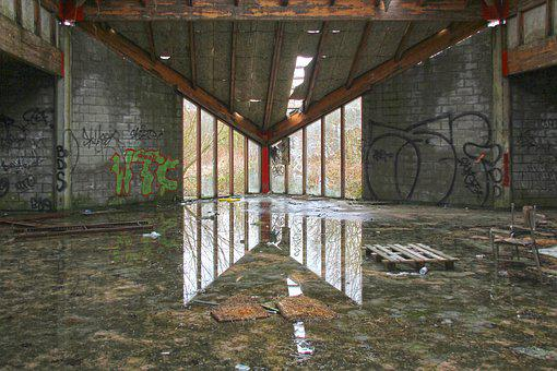 Urbex, Abandoned Barracks, Reflection, Abandonment