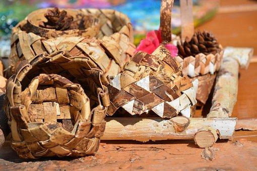 Handmade, Birch Bark, Birch Bark Weaving, Needlework