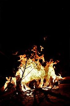 Flames, Camping, Bonfire