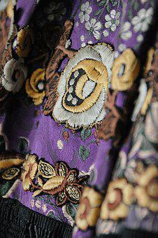 Folk, Embroidery, Folk Art, Flower, Sample, Homespun