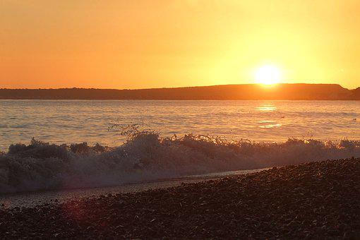 Ocean, Dorset, England, Sunset, Bay