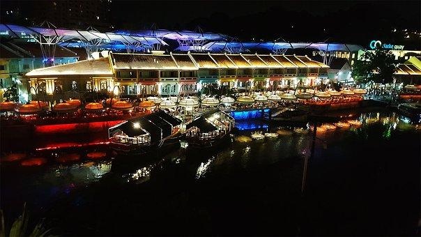 Riverside, Clarke Quay, Singapore, Night Life, River