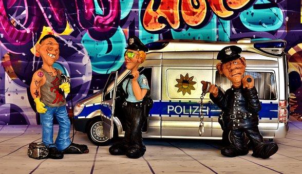Police Usage, Graffiti, Sprayer, Damage To Property