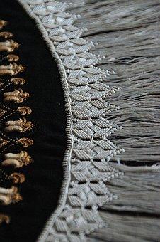 Textile, Sárközi, Sample, Black, Black And White
