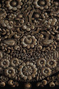 Textile, Homespun, Sárközi, Black, Flower, Dark, Sample