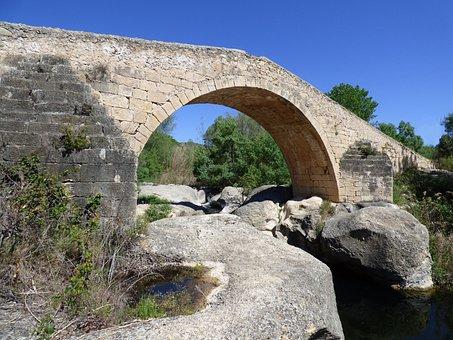 Bridge, Medieval, Romanesque, Stone, Buttresses, Arch