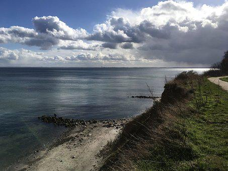 Baltic Sea, Lübeck Bay, Coast, Maritime, Cliff, Clouds