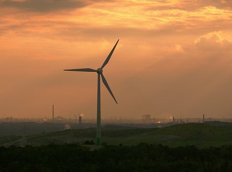 Pinwheel, Abendstimmung, Ruhr Area, Evening