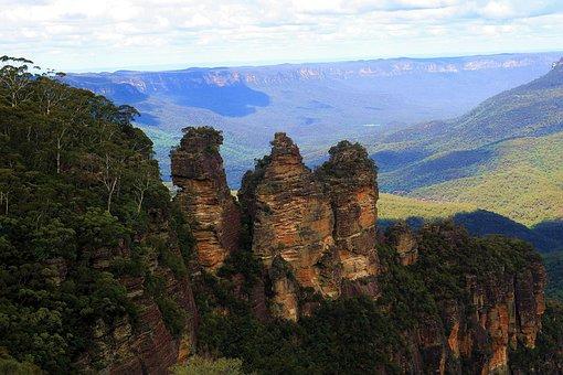 Australia, Forest, Three Sisters, Rock, Landscape