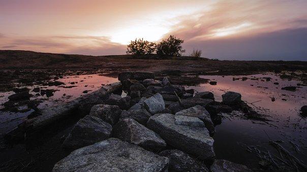 Sunset, Monadnock, Stone, Granite, Mountain, Water